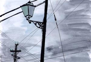 Telegraph Poles in Mallorca by Jenny Bowers
