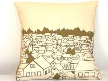 Rooftops Pillow by Jenna Rose