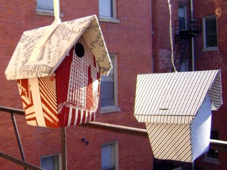 paper birdhouses for OTR Community Housing