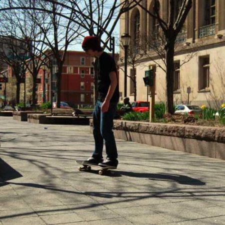 skateboarding in downtown Cincinnati