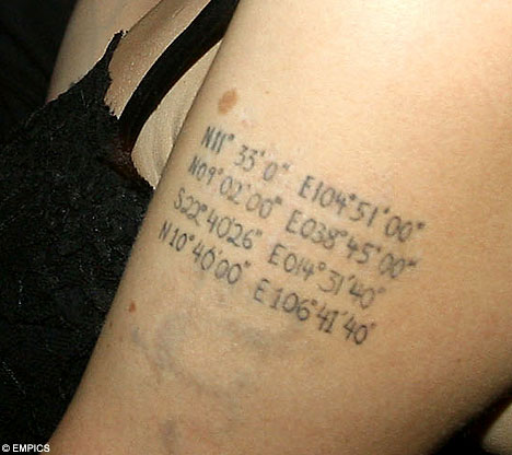 Angelina Jolie's Geocaching Tattoo