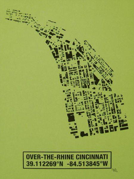OTR Building Footprint print in Lime