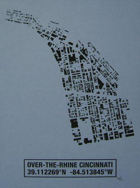 OTR Building Footprint print in Wedgewood