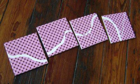 Ohio River coasters in pink+brown polka blobs