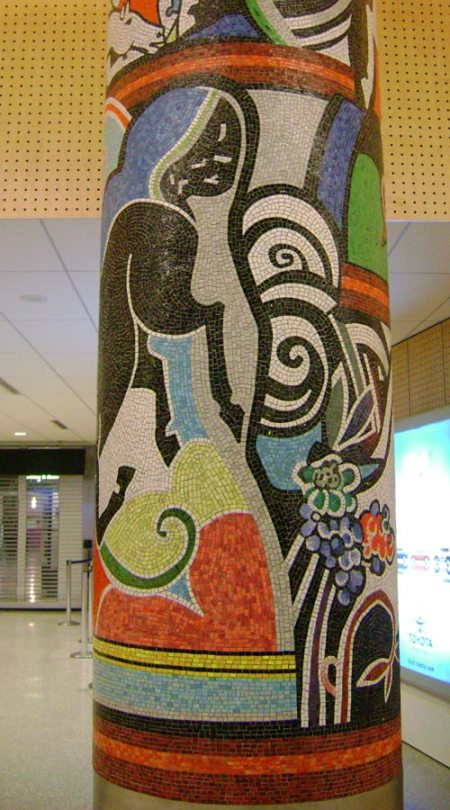mosaic columns at SeaTac Airport
