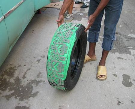 tire sculpture by Betsabeé Romero