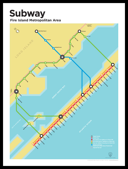 Fire Island subway map by Transit Authority Figures