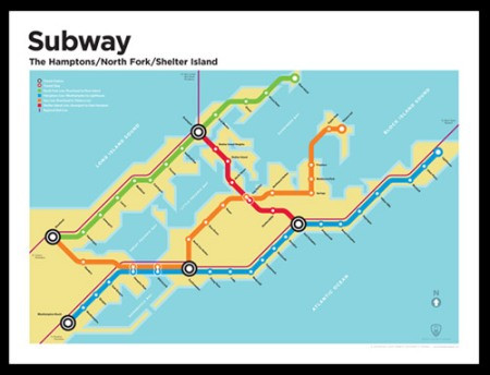 The Hamptons/North Fork subway map by Transit Authority Figures