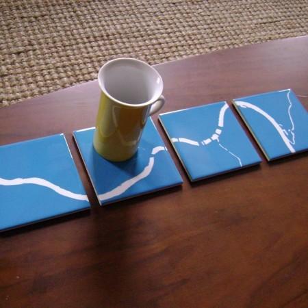 Ohio River coasters in blue