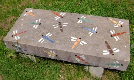 mosaic bench in the California Woods