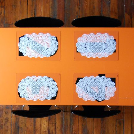Grandma's Doily Gas Station Placemats by VisuaLingual