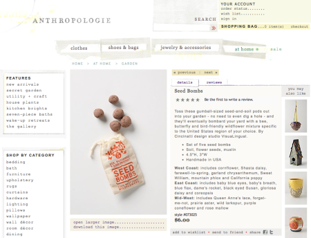 VisuaLingual Seed Bombs at Anthropologie