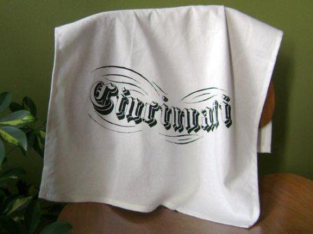 Cincinnati tea towel by VisuaLingual