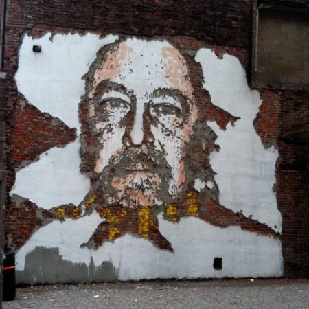 Scratched Wall Mural by Vhils