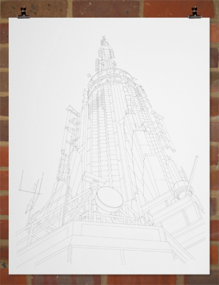 Stitched Architectural Drawing by Peter Crawley