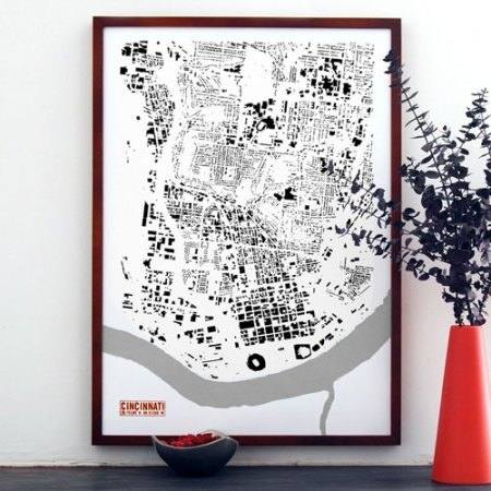Cincinnati building footprint print by VisuaLingual