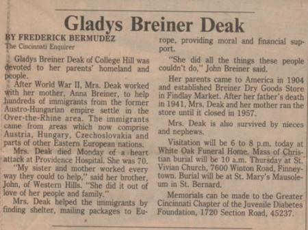 obituary of Gladys Breiner Deak