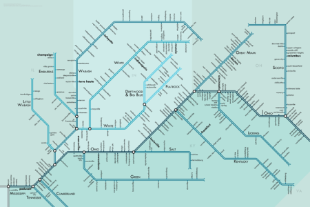 Rivers Drawn Like Subway Maps by Daniel Huffman
