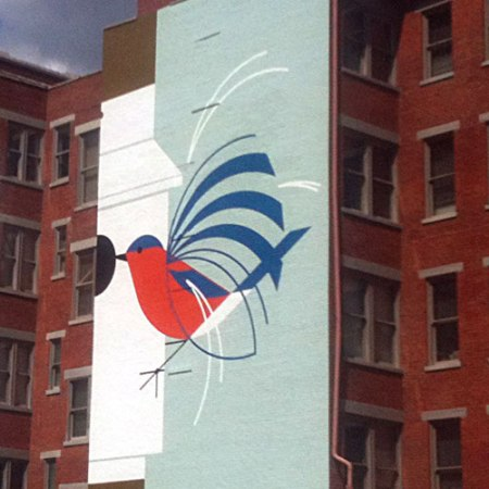 Homecoming [Bluebirds] by Charley Harper