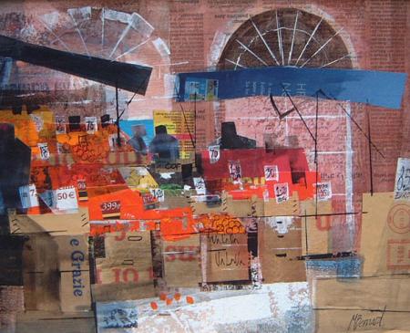 Fruit Market Near the Rialto Bridge, Venice by Mike Bernard