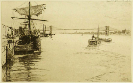 The East River Bridge - Brooklyn Bridge by Charles Adams Platt