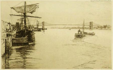 The East River Bridge - Brooklyn Bridge by Charles Adams Platt