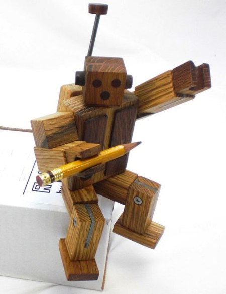 wooden robot by Happy Bungalow