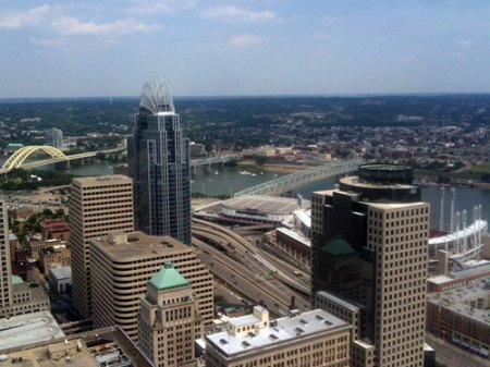 view from the Carew Tower observation deck in downtown Cincinnati