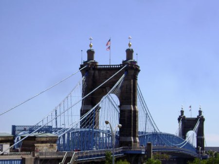 Roebling Bridge from downtown Cincinnati