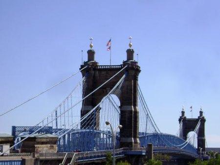 Roebling Bridge from downtown Cincinnati