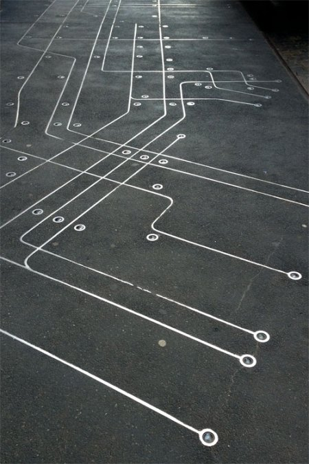 Subway Map Floating on a NYC Sidewalk by Francoise Schien