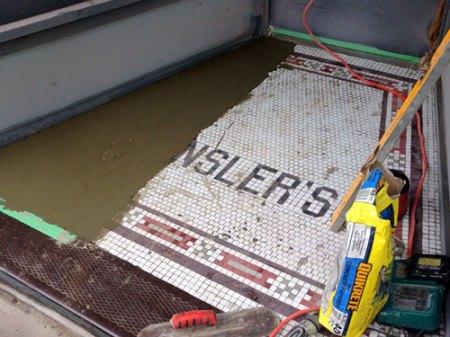 the end of Rensler's tile in downtown Cincinnati