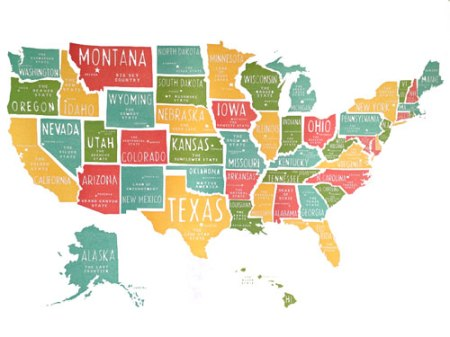 USA Map Print by Power and Light Press