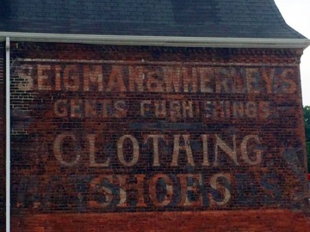 Siegman & Wherley's Clothing Shoes Ghost Sign in Glen Rock, PA