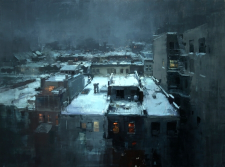 Rooftops in the Snow by Jeremy Mann