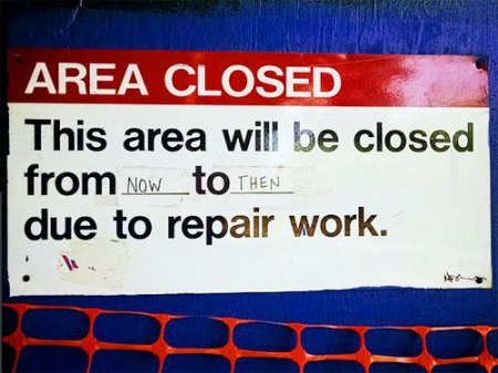 """area closed"" sign, NYC subway station"