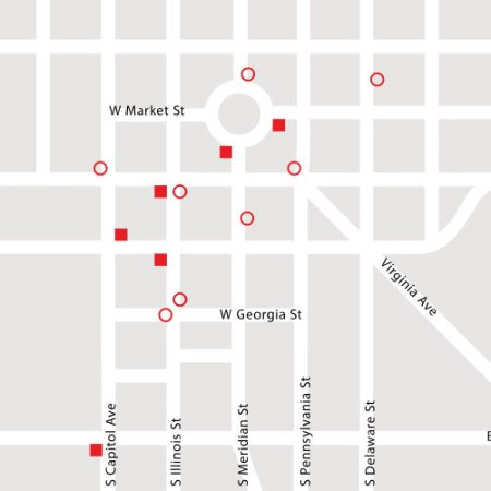 map of Know Outlets in Indianapolis